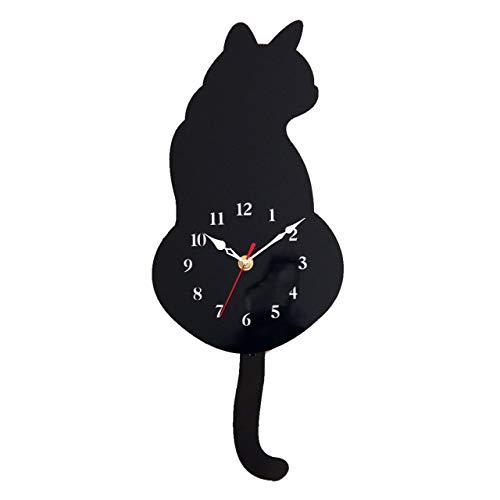 GoodsLand 【 しっぽが動く 】 ねこ 振り子時計 おしゃれ 時計 壁掛け 動物 猫 木製 クロック 可愛い かわいい GD-HURIKOTK-BK