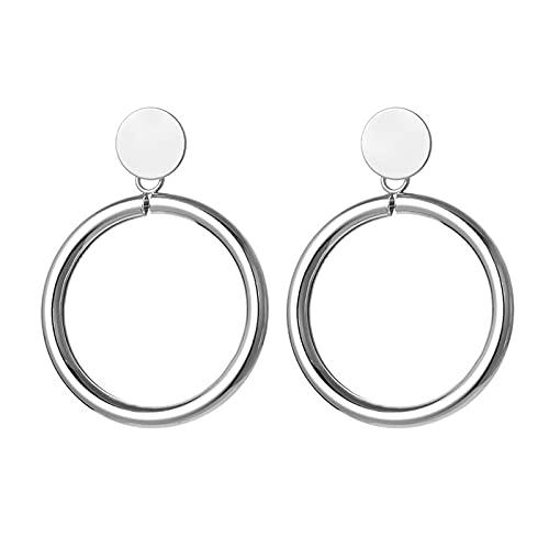 1 pieza de pendientes de metal minimalista con forma de círculo hueco