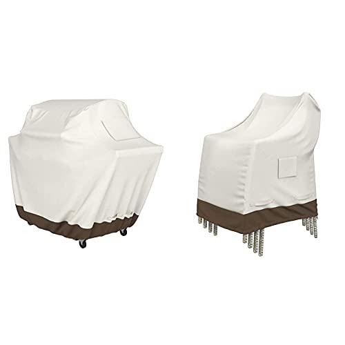 Amazon Basics Grillabdeckung, Gurte mit Click-Verschluss, Gr. XL & Abdeckung für aufeinandergestapelte Gartenstühle