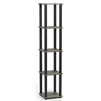 FURINNO Turn-S-Tube 5-Tier Corner Square Rack Display Shelf French Oak Grey/Black