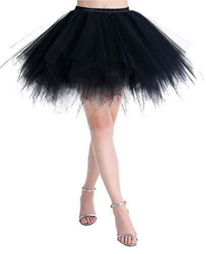 MUADRESS LXQ Mini Falda Enagua Mujer Cancan Vintage para Vestido Rockabilly Disfraces Negro L