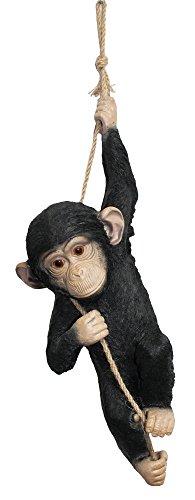 ColourLiving Figurine Monkey, Chimpanzee Climbing on Rope, Decorative Figure, Animal Garden Ornament