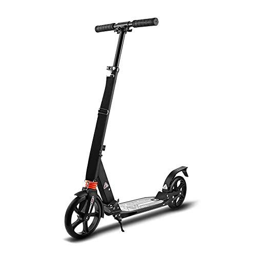 Scooter para adultos, adolescente, plegable, de altura ajustable, 2 ruedas, patinete con freno de guardabarros trasero para niños, mujeres, hombres, soporte de 100 kg de peso, ruedas grandes de 200