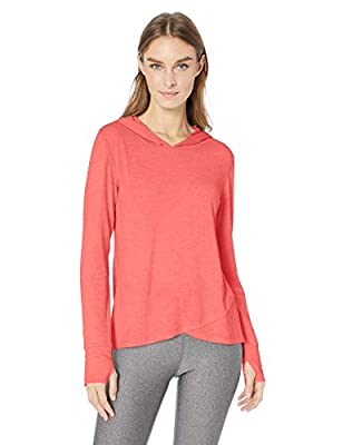 Amazon Essentials Women's Studio Long-Sleeve Lightweight Cross-Front Hoodie, -bright pink, Large