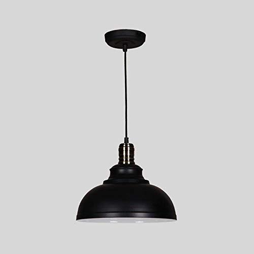 HTL Chandeliers Negros de Estilo Industrial Retro Creativo, Lámpara Colgante Redonda Minimalista Creativa, Lámpara de Colgante de Comedor de Dormitorio Luz de Techo