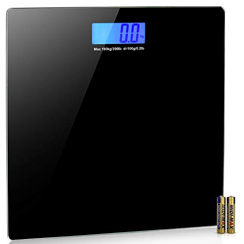 Bathroom Scales Digital Body Weight Scale With User Manual, Sturdy Tempered Glass, Elegant Black