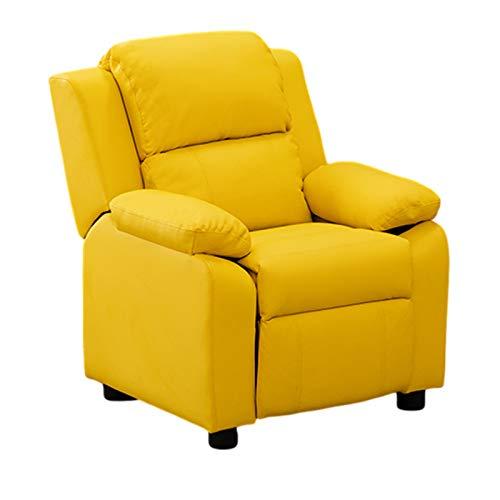 XLSQW Kids Canapé Accoudoir Chaise PU Cuir Stail Art Chaise Salon pour Enfants Chaise de Dossier Mignon Backrest Chaise épaissie Sponge, avec Repose-Pieds réglable,Jaune