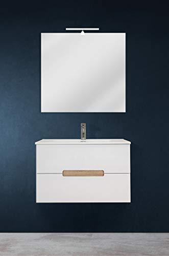 OrionShop Mobile Bagno Sospeso GIOVE da 80cm Bianco con Lavabo Specchio e Lampada LED Inclusi