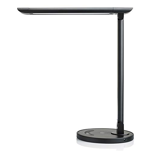 TaoTronics TT-DL13B LED Desk Lamp Eye-caring Table Lamps, Dimmable Office Lamp with USB Charging Port, Touch Control, 12W, 5 Color Modes, Philips EnabLED Licensing Program (Black)