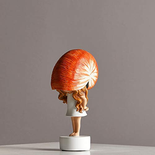 liushop Statues Cute Conch Girl Statue, Creative Home Decoration, Children's Room Bedside Table Decoration, Abstract Sculpture Sculpture Craft Desk Decoration Artwork (Color : C)