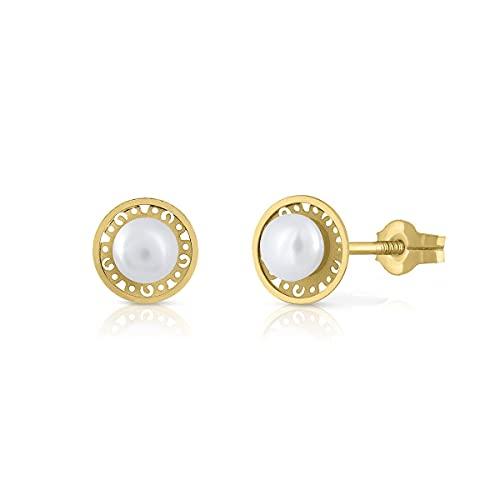 Pendientes Oro de Ley Certificado. Niña/Mujer. Perla Natural Cultivada. Cierre de presión. Medida 7 mm. (1-1351)