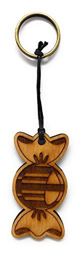 Schlüsselanhänger Bonbon aus Holz optional mit individueller persönlicher Gravur !