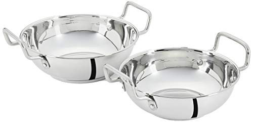 Amazon Brand - Solimo Stainless Steel Induction Bottom Kadhai Set (2 pieces, 1250ml and 1600ml, Size 10 and 11)