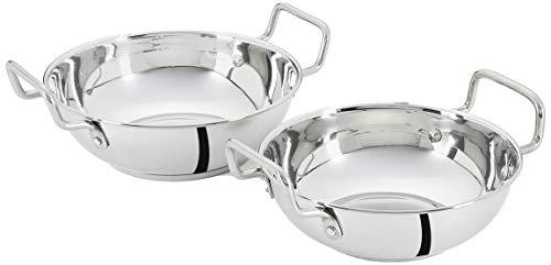 Amazon Brand - Solimo Stainless Steel Induction Bottom Kadhai Set (2 pieces,...