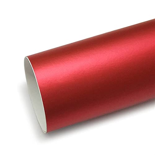 WSFANG Sticker de Carro 1 UNID PVC Coche Gloss Metallic Chrome Vinyl Wrap Strip Pegation Air Pegatina Accesorios 152x50cm Rojo para carros