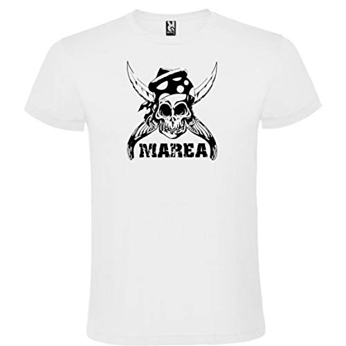 ROLY Camiseta Blanca con Logotipo de Marea Hombre 100% Algodón Tallas S M L XL XXL Mangas Cortas (L)