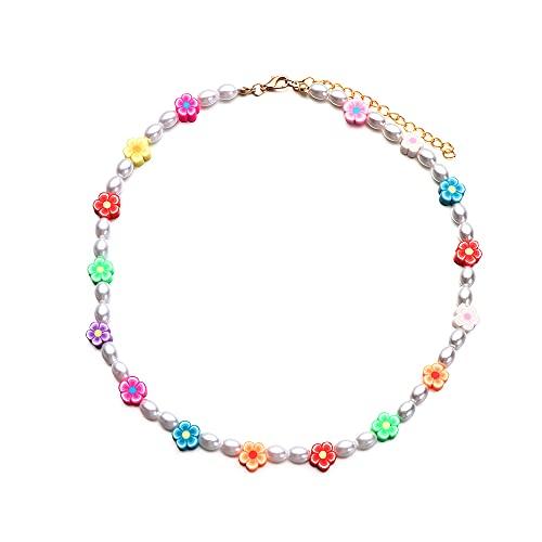 Fiesta encantadora flor colorida joyería gargantilla semilla cuentas perlas collar estilo bohemio (estilo D)