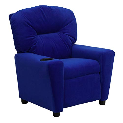 Flash Furniture Contemporary Blue Microfiber Kids Recliner with Cup Holder