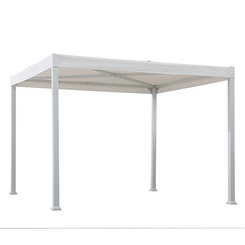 Sunjoy A106005700 Reese 10x10 ft. Modern Steel Pergola with Flat Top Canopy, White