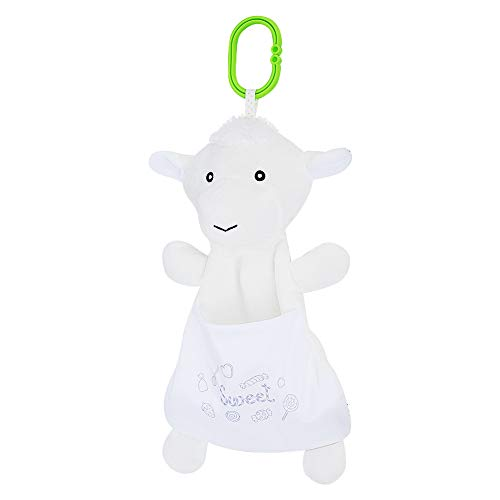Bolsas de almacenamiento al vacío, toalla calmante de felpa de dibujos animados, impresiones dulces para llevar de forma segura al bebé para que juegue para niña bebé(white)