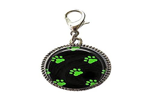 Lindo gato huellas verdes y patrón de gato vidrio arte foto encanto pulsera colgante cremallera tire encanto con cierre langosta cremallera tire joyería