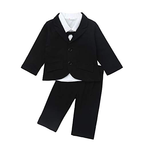 IEFIEL Traje para Bebé Niño Camisa Pelele + Chaquete Ropa Algodón de Manga Larga Traje de Boda Recien Nacido Bautizo Fiesta Blanco+Negro A 18-24 Meses