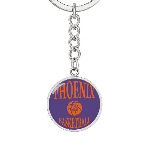 Love Phoenix - Llavero de baloncesto con forma de círculo, acero inoxidable o oro de 18 quilates, Llavero de lujo (acero quirúrgico .316), talla única