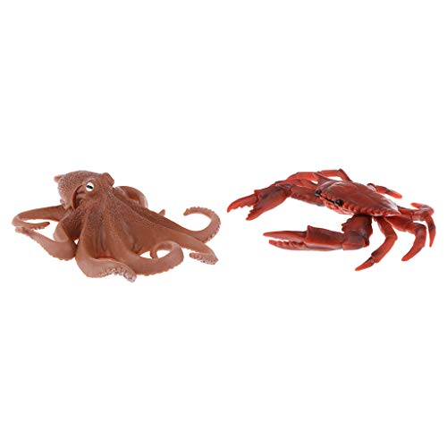 sharprepublic 2 PCS Octopus & Red Real Life Figurine Model Colletcion Toy