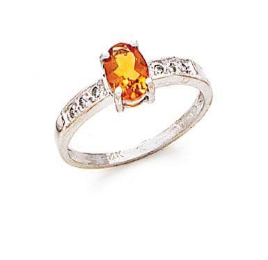 14ct blanca de citrino y anillo de diamantes en bruto - tamaño N 1/2 - JewelryWeb