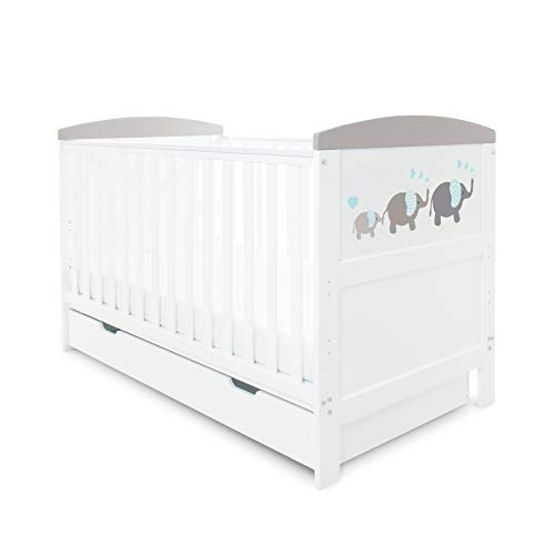 Ickle Bubba Coleby Style Cot Bed, Under Drawer and Sprung Mattress - Elephant Love Grey