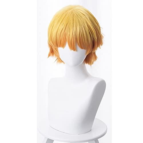 LYDIANZI Perruque de cheveux courts synthétiques avec frange intérieure rose, dégradé jaune, orange, cheveux courts, bouclés, cosplay, anime, cosplay, 30,5 cm