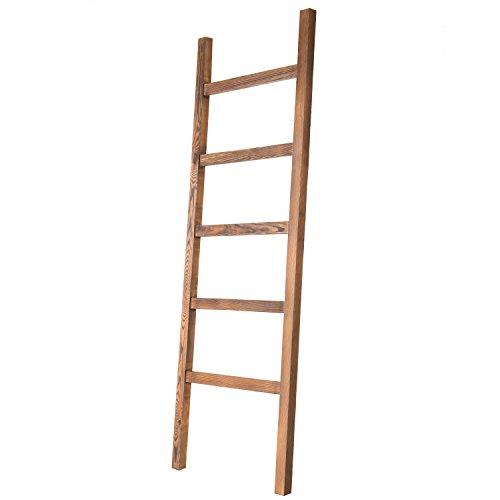 MyGift Brown Wood Decorative Blanket Quilt Ladder Rack, 4.5-Foot Towel Storage Shelf with 5-Rungs