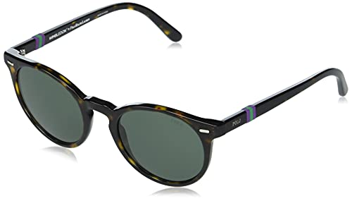 Polo Ralph Lauren PH4151 - Gafas de sol redondas para hombre, color verde y oscuro brillante, 50 mm