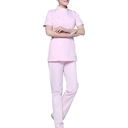 PRETYZOOM Vestido de Matorral Uniforme de Enfermería Traje de Cuello Redondo Infinito Ropa de Hospital de Dos Piezas Ropa de Trabajo de Manga Corta para Mujer Esteticista (Rosa)