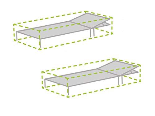 Perel Lot de 2 étuis de Protection pour transats 200 x 75 cm, Hottes Chaise Longue de Jardin de recouvrement, résistant aux intempéries