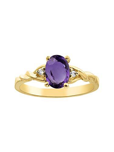 *RYLOS Simply Classic Amethyst & Diamond Ring - February Birthstone*