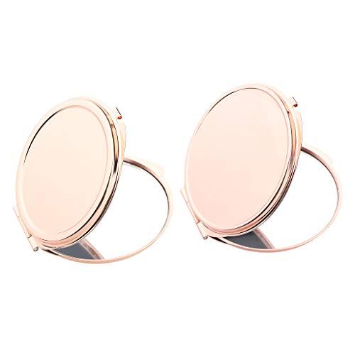 IPOTCH 2pcs Mini Miroir de Maquillage Rond Portable Miroir de Vanité Double Faces de Poch Miroir de Sac a Main pour Femme