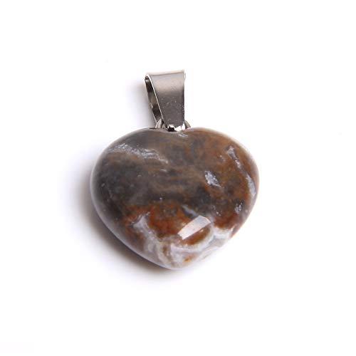 LZQBD 1pc Piedra de cuarzo natural, colgante de piedra de corazón de amor, colgantes para hacer joyas hechos a mano, collar F/E/Paridad