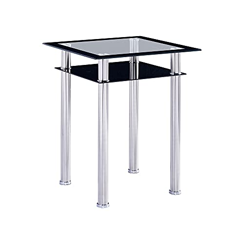 Modern 2 Tires Black Glass Dining Room Table Square Only with Storage Shelf, Kitchen Table Tempered Glass Tabletop Chrome Legs for Small Space Dinette 2/4 People Use (60cm square)