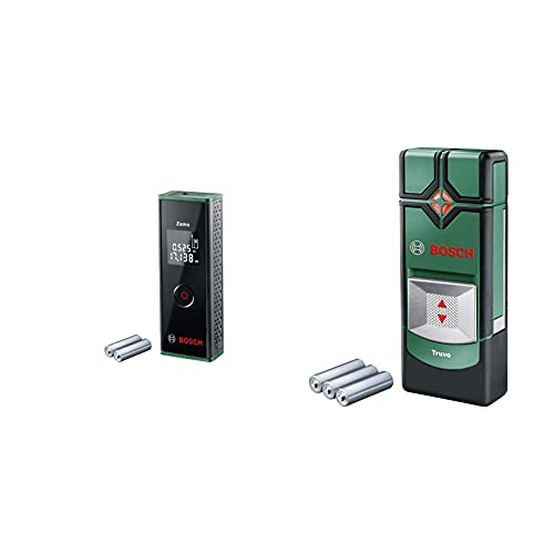 Bosch Laser-Entfernungsmesser Zamo (3. Generation, Messbereich: 0,15 – 20,00 m, Karton) & Ortungsgerät Truvo (für Metall & stromführende Leitungen in 70/50 mm Erfassungstiefe; 3x AAA Batterien)