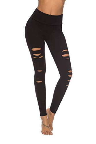 DIBAOLONG Womens High Waist Yoga Pants Cutout Ripped Tummy Control Workout Running Yoga Skinny LeggingsBlack M
