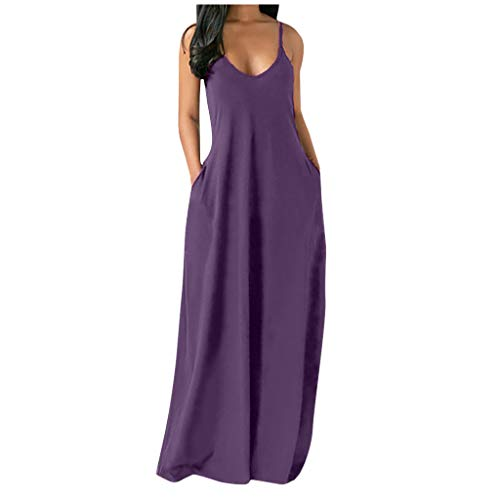 Dresses for Women, Women's Casual V Neck Long Maxi Dress Sleeveless Summer Beach Party Cami Boho Dress Plus Size