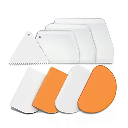 8 in 1 Teigschaber Set, 2 Flexible, 6 Harte lebensmittelechte Kunststoff Teigschaber mit verschiedenen Stile Schaber zum Backen