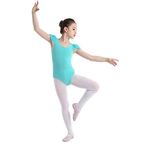 inhzoy Maillot de Danza Ballet para Niña Elástico Leotardo de Gimnasia Rítmica Manga con Volantes Body de Baile Patinaje Disfraz de Bailarina Turquesa 10-12Años