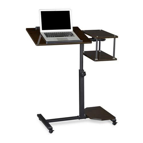 Relaxdays Laptoptisch höhenverstellbar XL HBT: 100 x 77 x 40 cm Großer Notebook Tisch als Sofatisch und Beistelltisch mit 4 bremsbaren Rollen für Tablet mit Mouse Ablage und Antirutsch-Leiste, schwarz