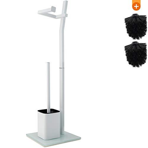 Juego de Inodoro -22x18x70cm– Incluye Soporte para Papel higiénico y escobilla de baño - Acero Inoxidable en Blanco - Atractiva Base de Vidrio – De Regalo: 2X Cabezas de escobilla Extras