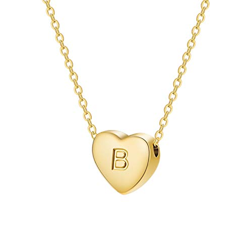 Dainty Heart Initial Necklace Letters B Alphabet Pendant Necklace Small Heart 18K Real Gold Plated Personalized Necklace for Girl Women