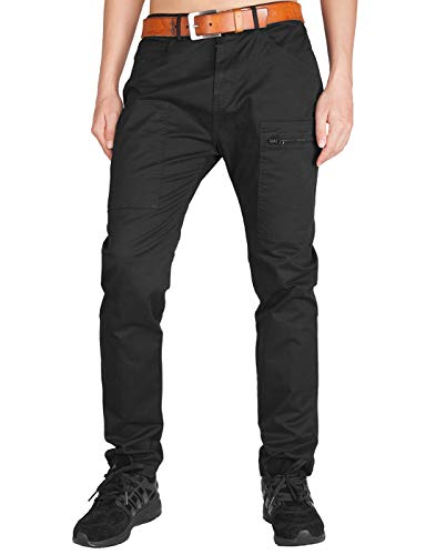 Italy Morn Chino Cargo da Uomo Nero Pantaloni Slim Fit Stretch 36 Nero