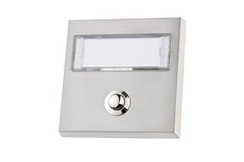 HUBER Aufputz Klingeltaster 1-fach aus Echtmetall - Türklingelknopf mit extra großem Namensschild für lange & Doppelnamen, mit LED Hintergrundbeleuchtung