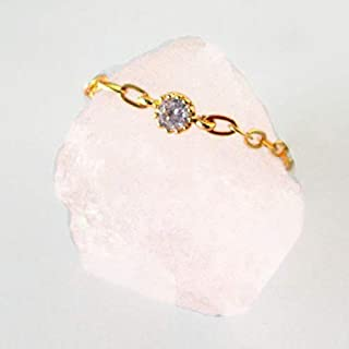 CZ Diamond Chain Ring for Women Size 3 to 10 Fashion Gemstone Jewelry in Sterling Silver, Rose Gold and Gold Fill